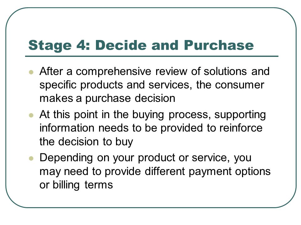 Stage 4: Decide and Purchase