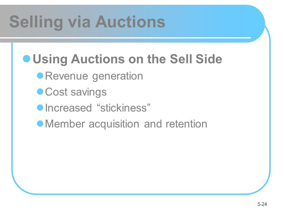 Selling via Auctions Using Auctions on the Sell Side