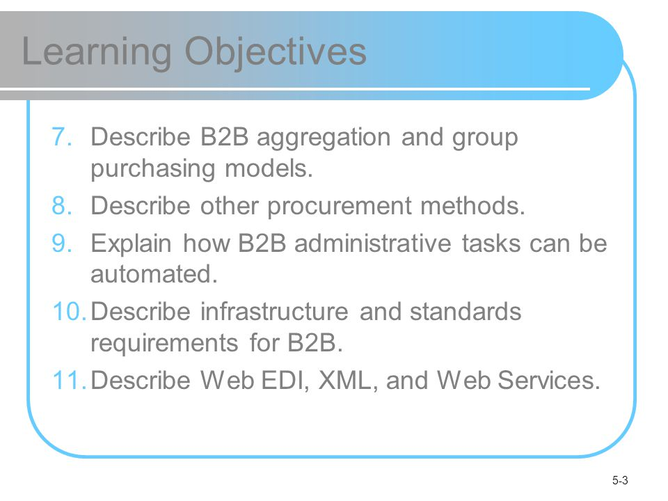 Learning Objectives Describe B2B aggregation and group purchasing models. Describe other procurement methods.