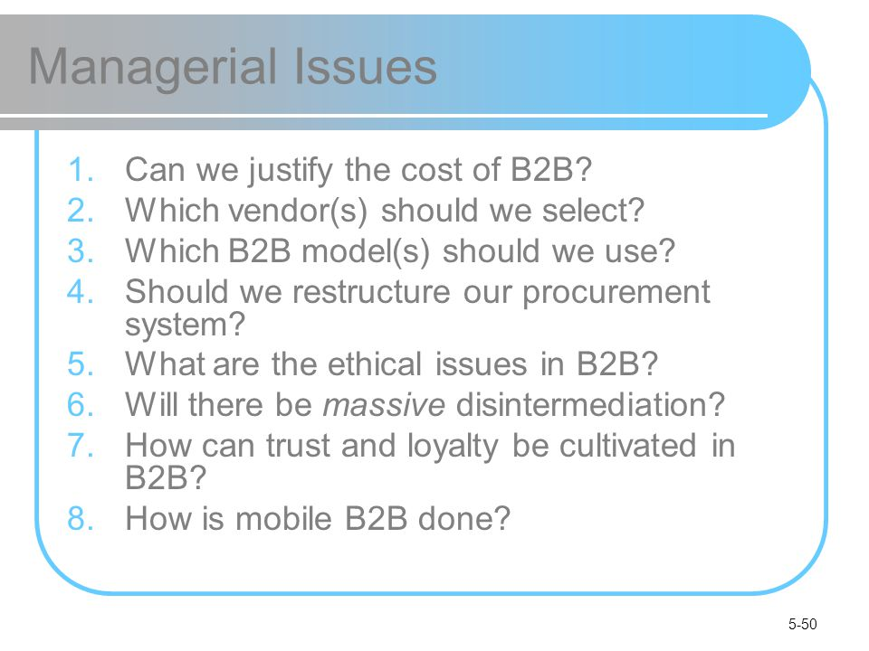 Managerial Issues Can we justify the cost of B2B