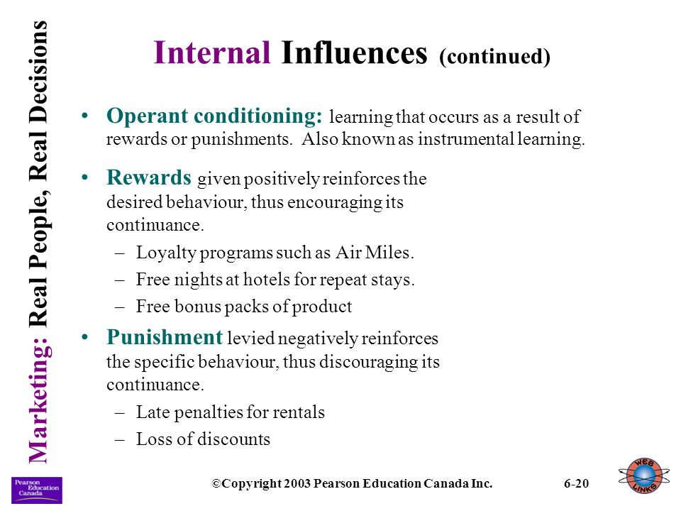 Internal Influences (continued)