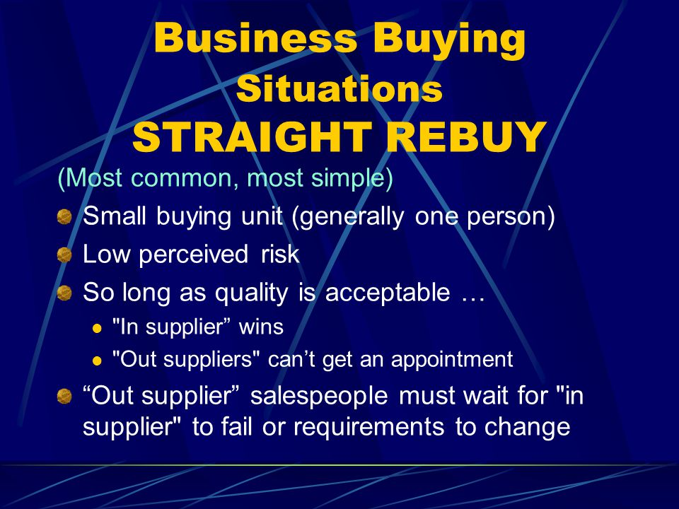 Business Buying Situations STRAIGHT REBUY