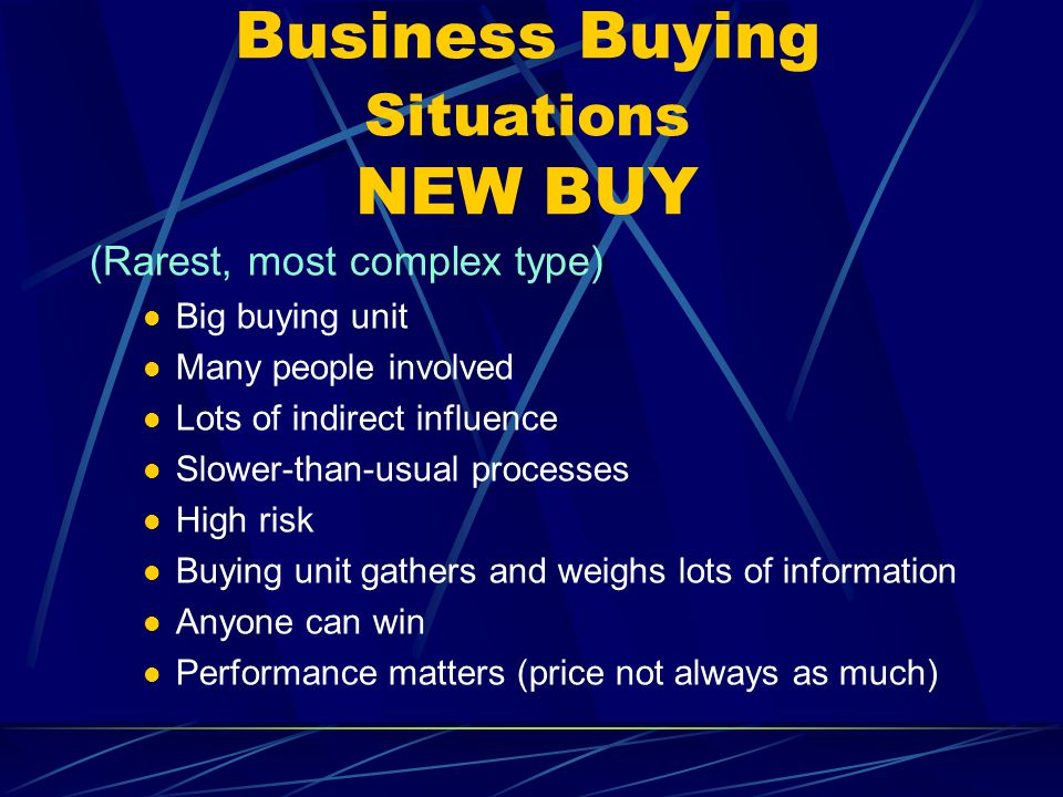 Business Buying Situations NEW BUY