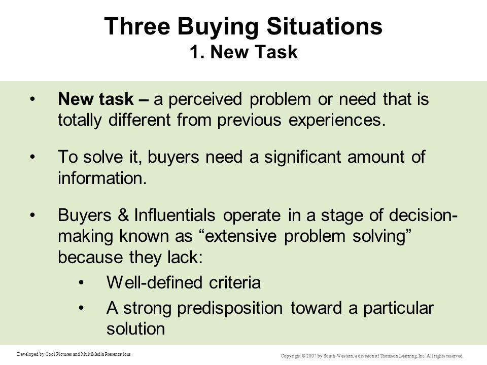 Three Buying Situations 1. New Task
