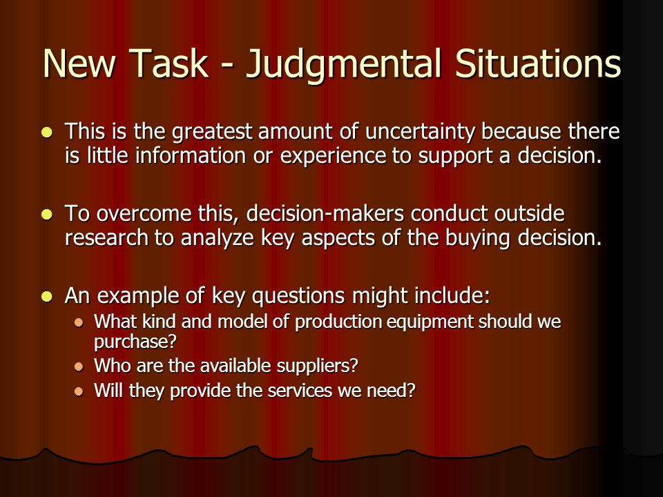 New Task - Judgmental Situations