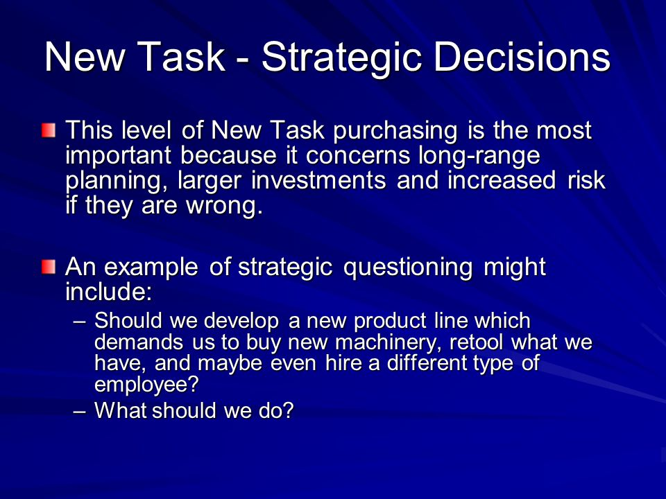 New Task - Strategic Decisions