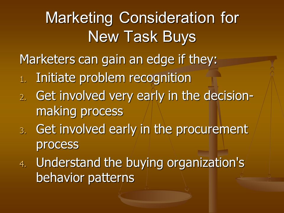 Marketing Consideration for New Task Buys