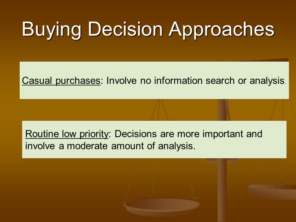 Buying Decision Approaches