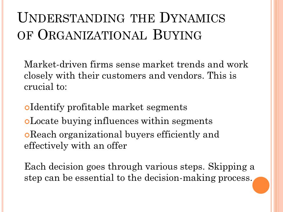 Understanding the Dynamics of Organizational Buying