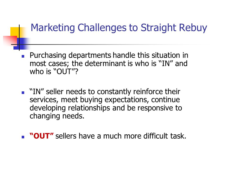Marketing Challenges to Straight Rebuy
