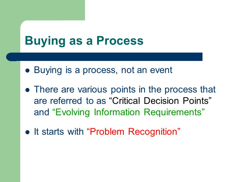 Buying as a Process Buying is a process, not an event