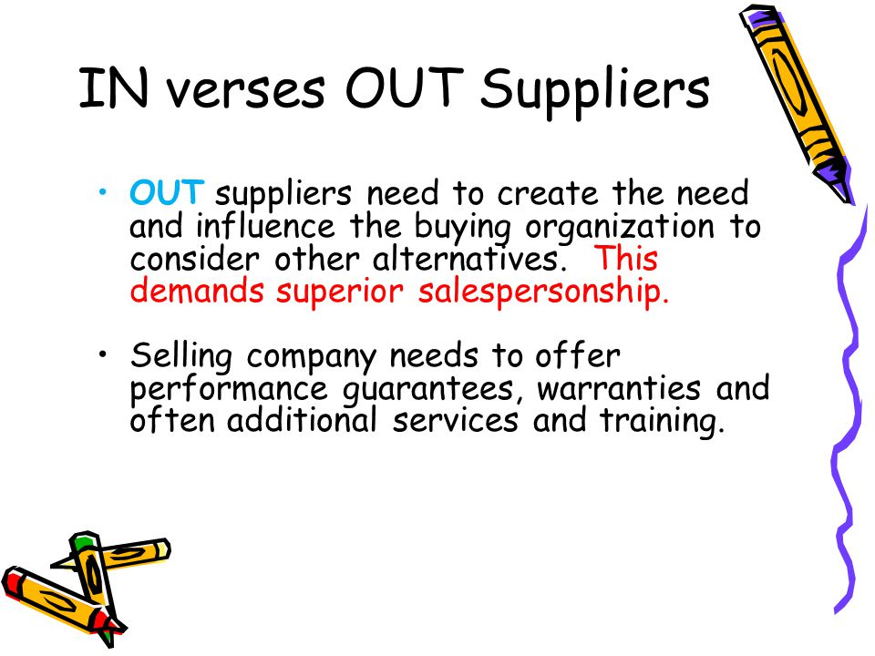 IN verses OUT Suppliers