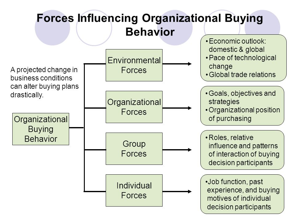 Forces Influencing Organizational Buying Behavior