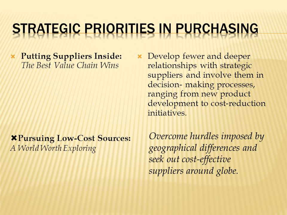 Strategic Priorities in Purchasing