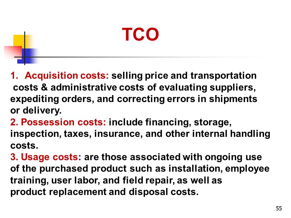 TCO Acquisition costs: selling price and transportation