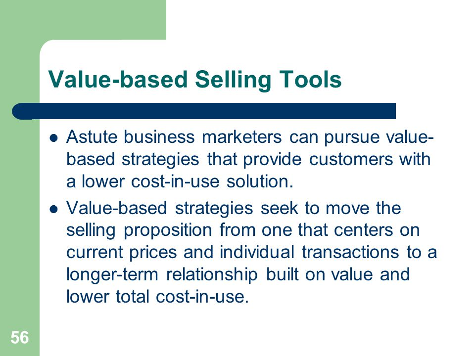Value-based Selling Tools