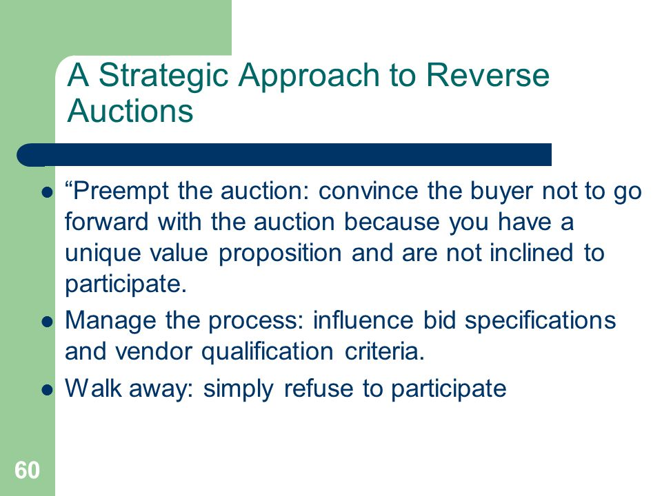 A Strategic Approach to Reverse Auctions