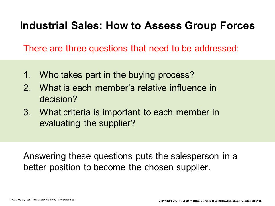 Industrial Sales: How to Assess Group Forces