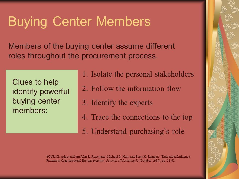 Buying Center Members Members of the buying center assume different roles throughout the procurement process.
