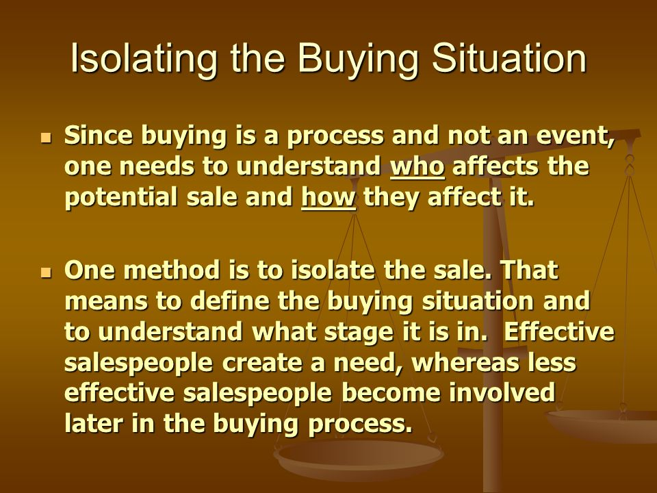 Isolating the Buying Situation