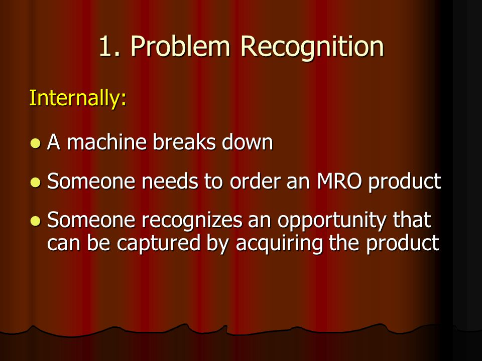 1. Problem Recognition Internally: A machine breaks down