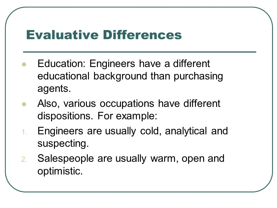 Evaluative Differences