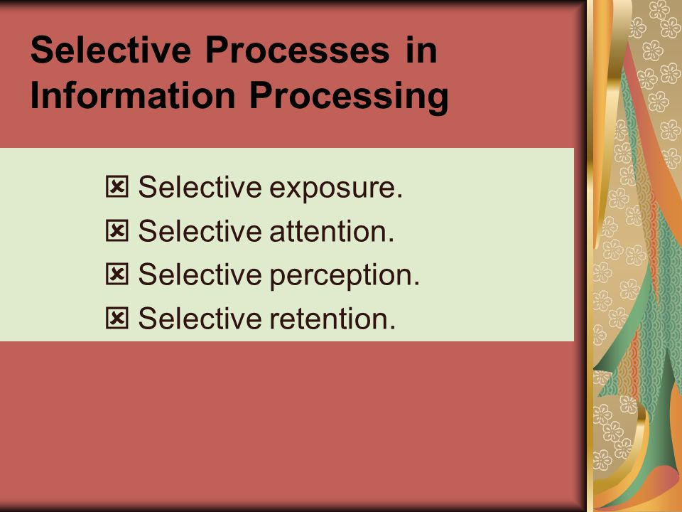 Selective Processes in Information Processing