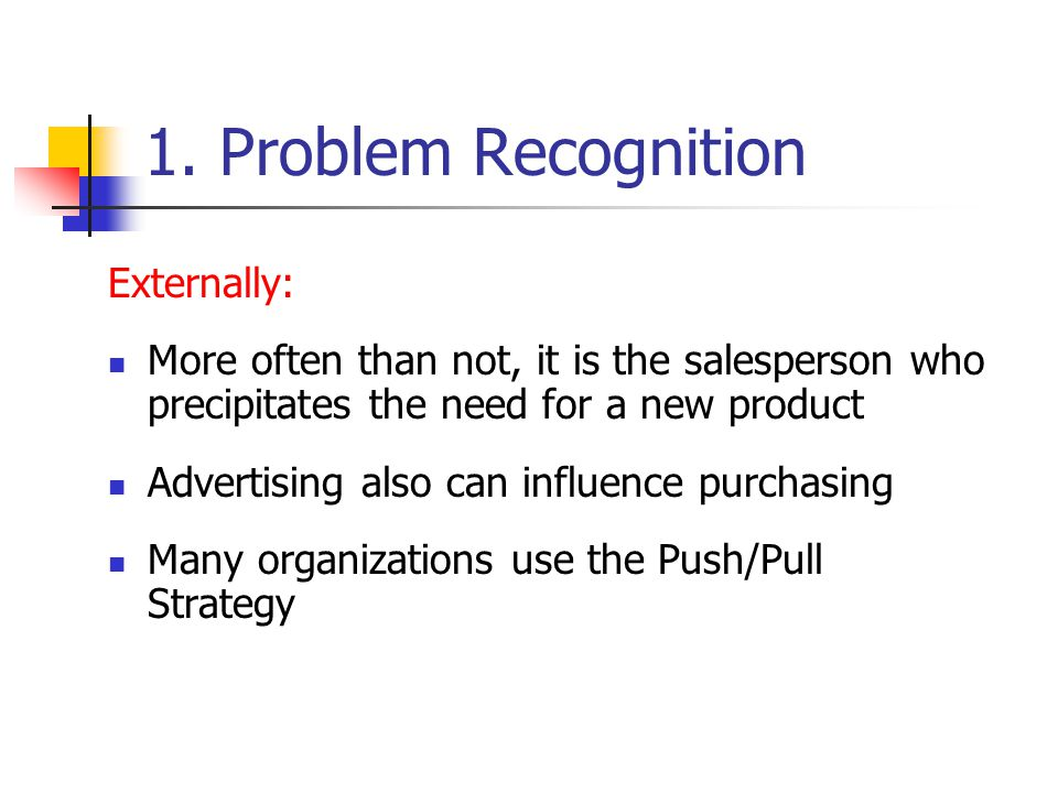 1. Problem Recognition Externally: