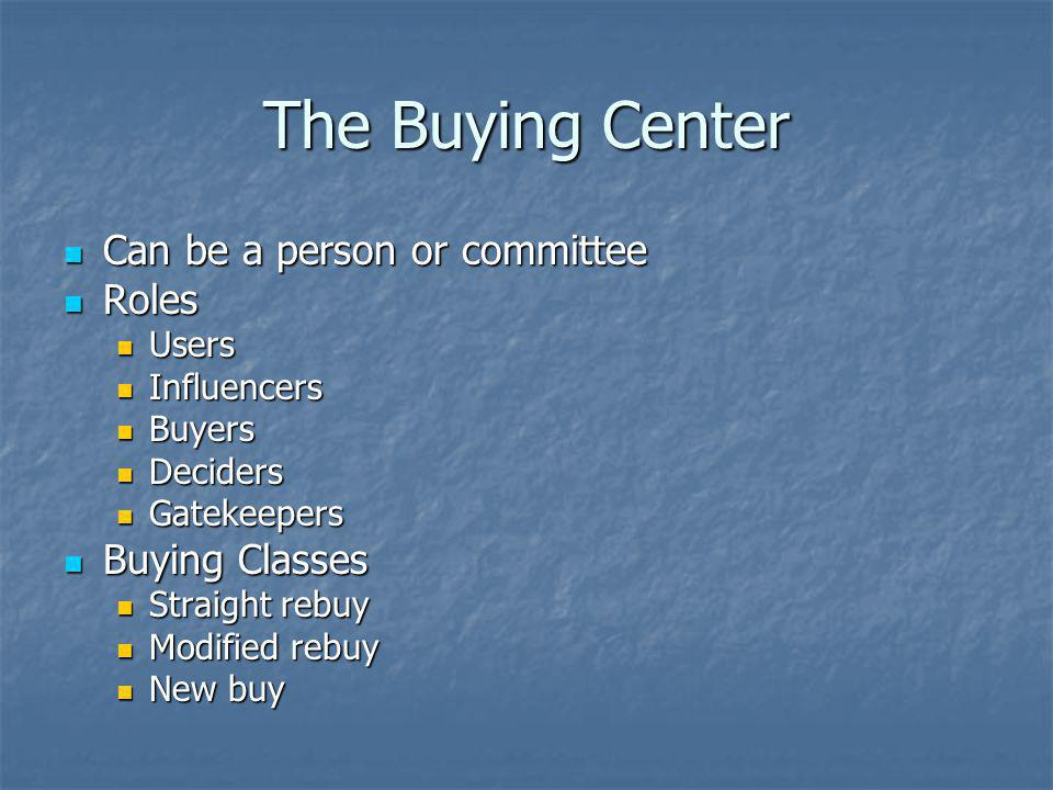 The Buying Center Can be a person or committee Roles Buying Classes