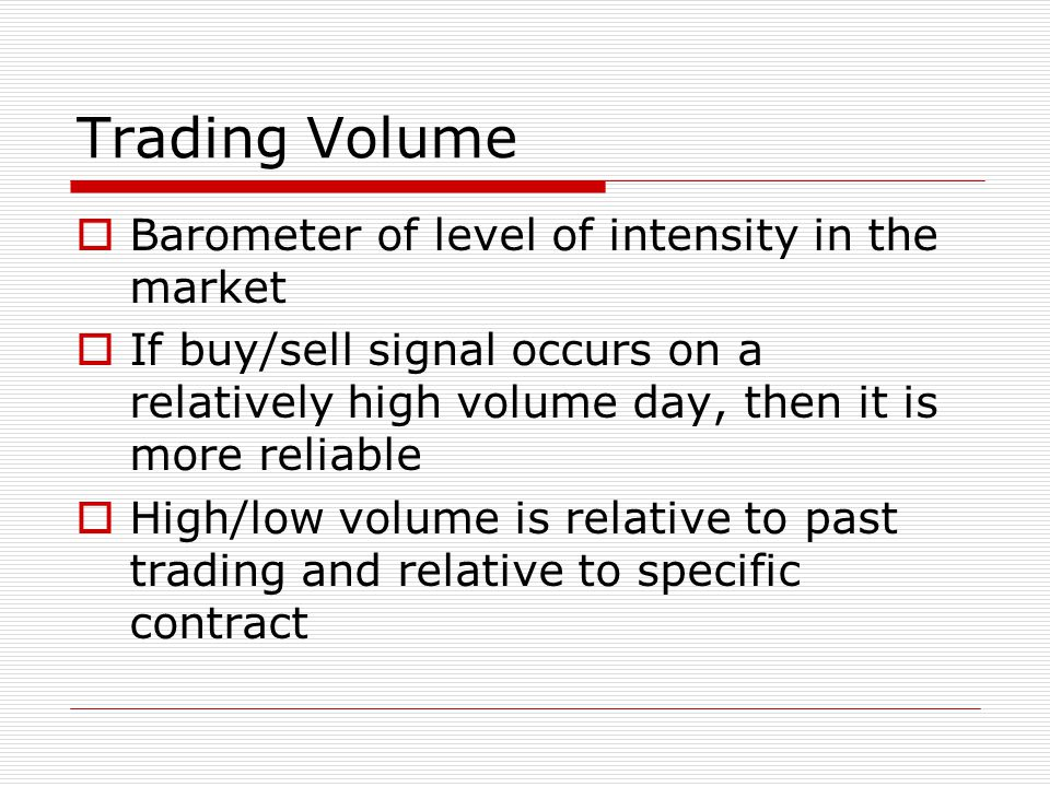 Trading Volume Barometer of level of intensity in the market