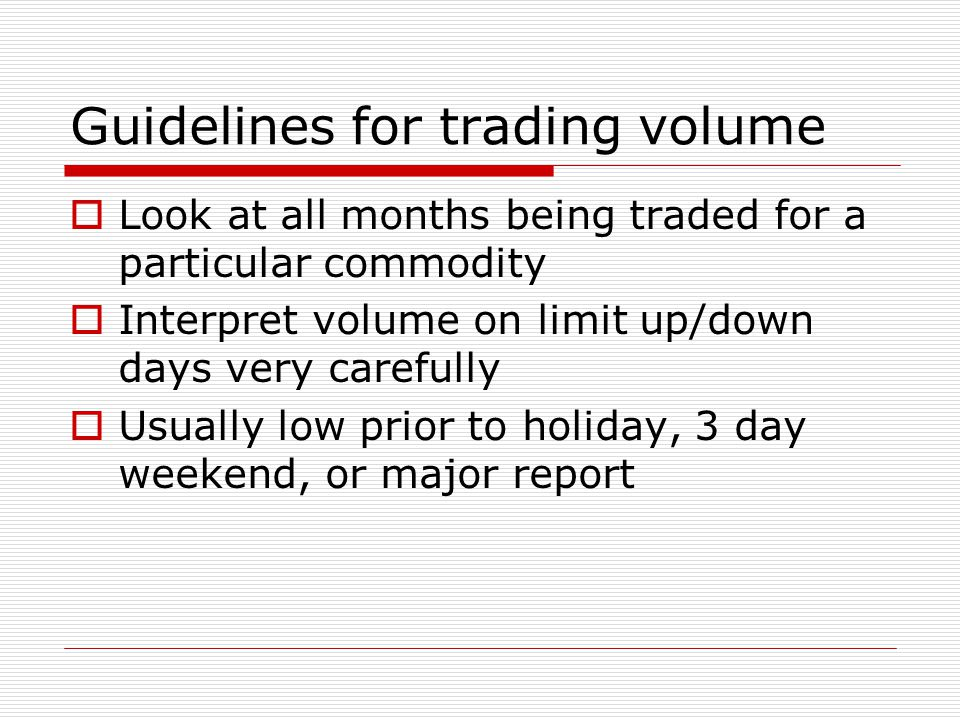 Guidelines for trading volume