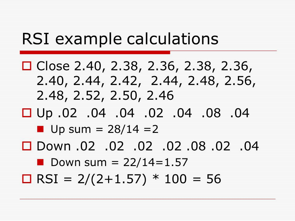 RSI example calculations