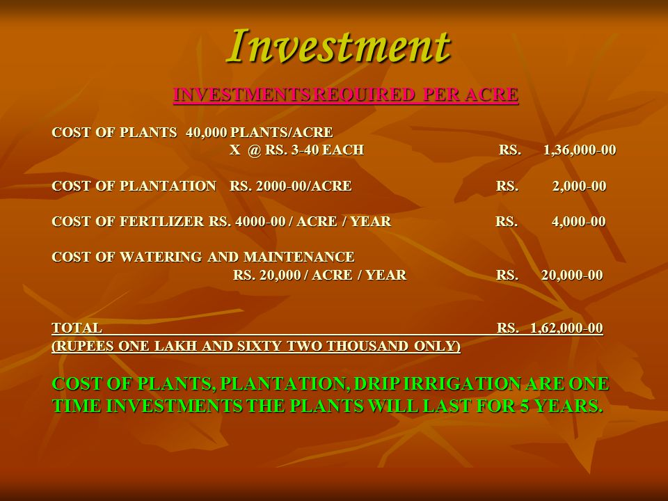 INVESTMENTS REQUIRED PER ACRE