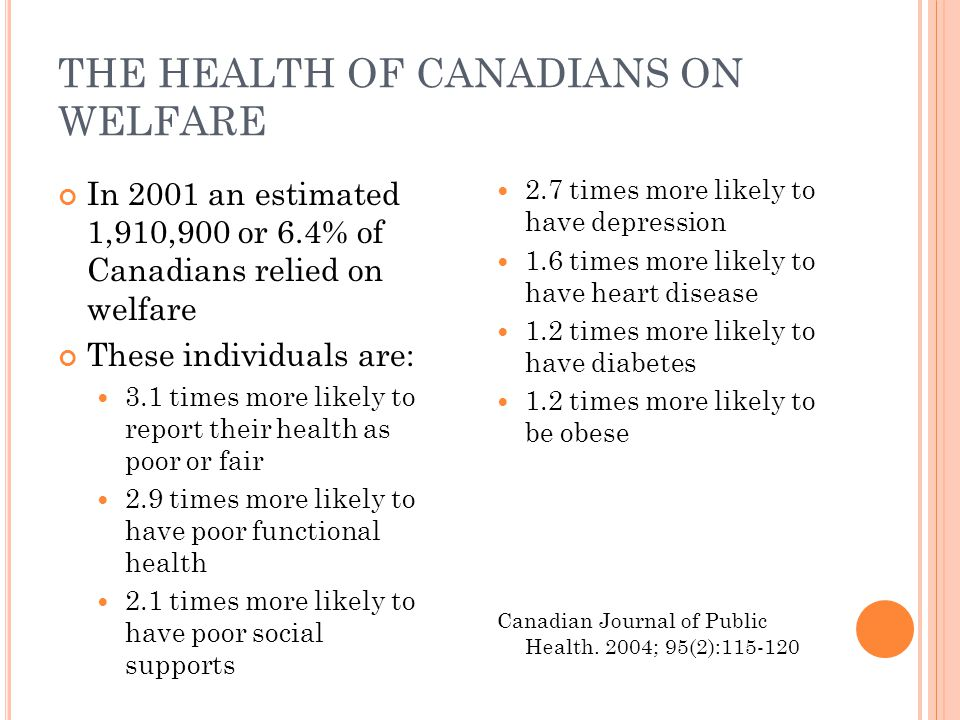 THE HEALTH OF CANADIANS ON WELFARE