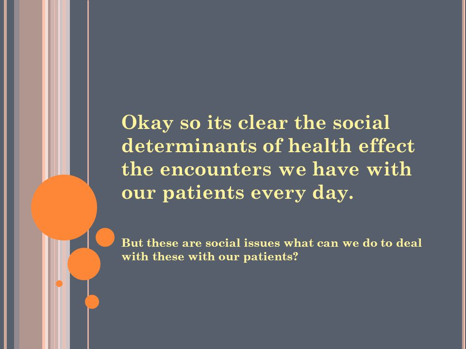 Okay so its clear the social determinants of health effect the encounters we have with our patients every day.