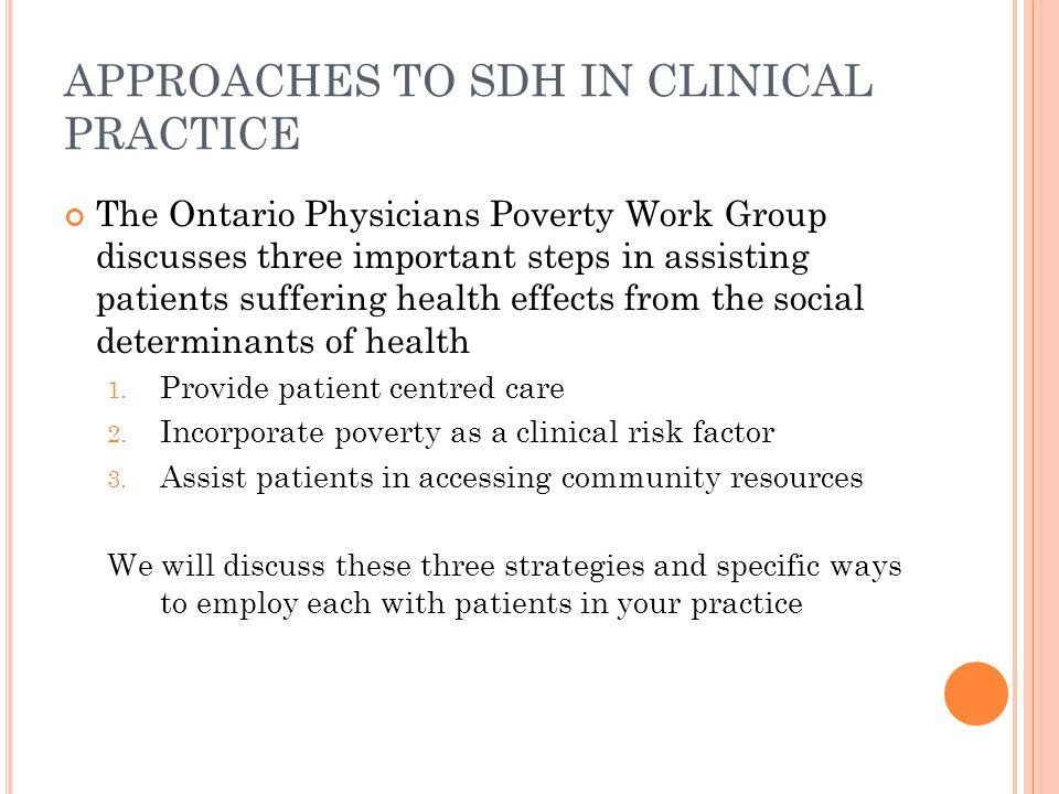 APPROACHES TO SDH IN CLINICAL PRACTICE