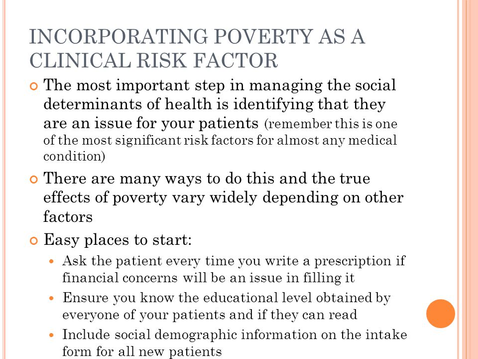 INCORPORATING POVERTY AS A CLINICAL RISK FACTOR