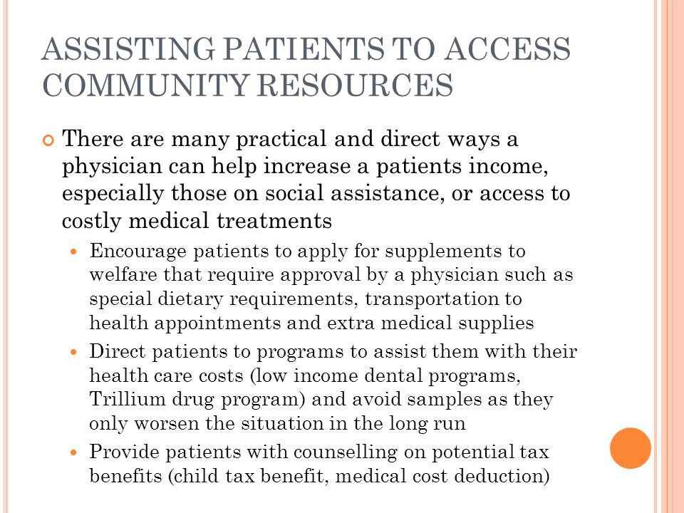 ASSISTING PATIENTS TO ACCESS COMMUNITY RESOURCES