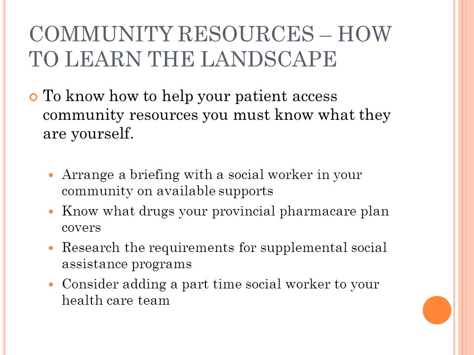 COMMUNITY RESOURCES – HOW TO LEARN THE LANDSCAPE