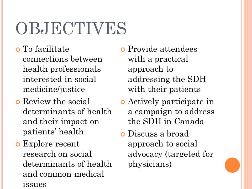 OBJECTIVES To facilitate connections between health professionals interested in social medicine/justice.