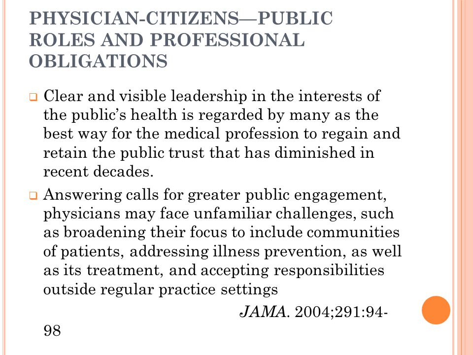 PHYSICIAN-CITIZENS—PUBLIC ROLES AND PROFESSIONAL OBLIGATIONS