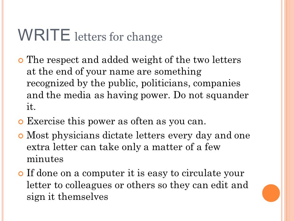 WRITE letters for change