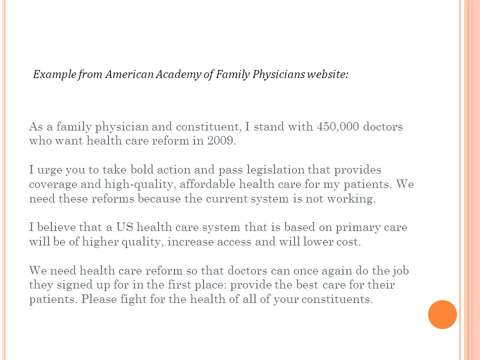 Example from American Academy of Family Physicians website: