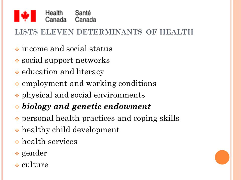 LISTS ELEVEN DETERMINANTS OF HEALTH