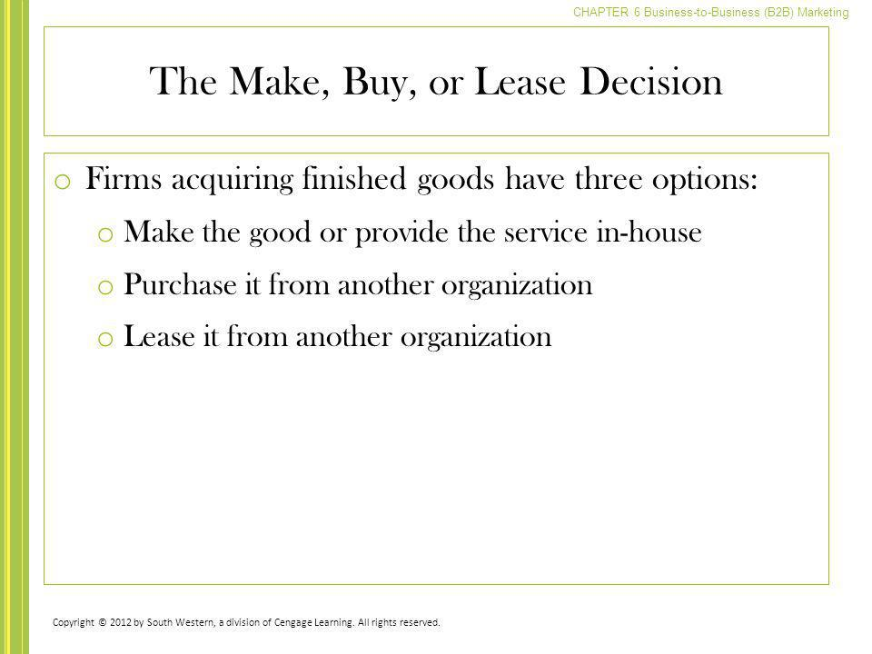 The Make, Buy, or Lease Decision