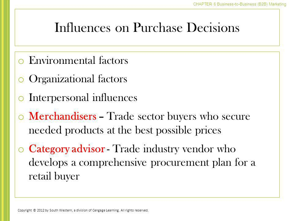 Influences on Purchase Decisions