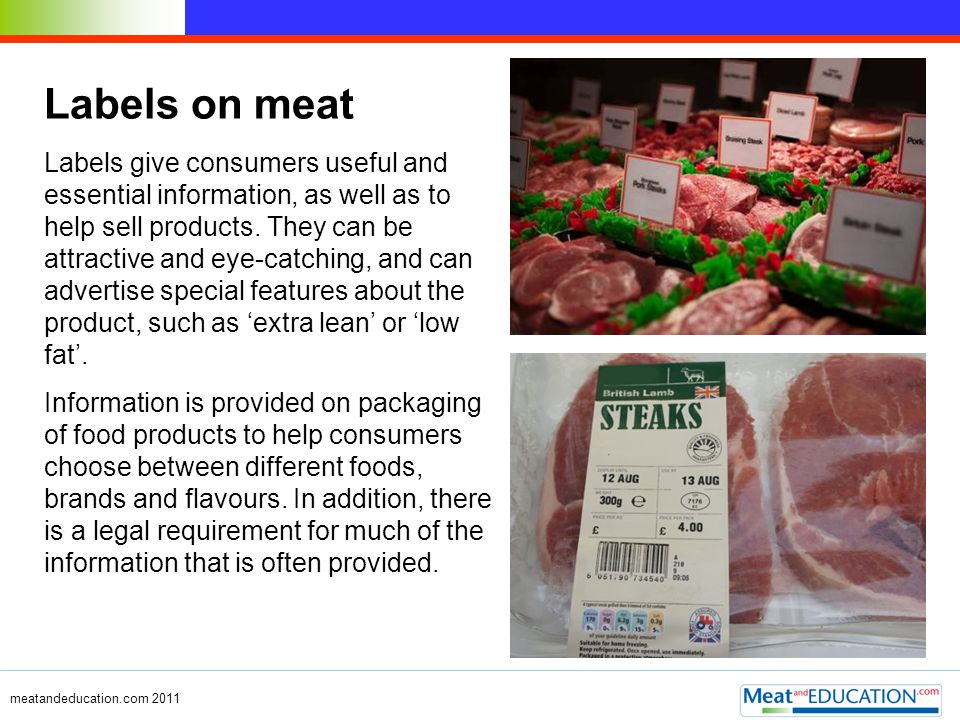 Labels on meat
