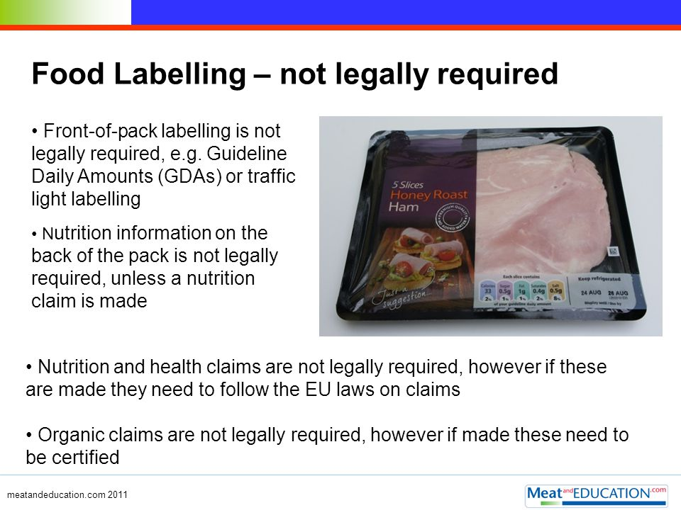 Food Labelling – not legally required