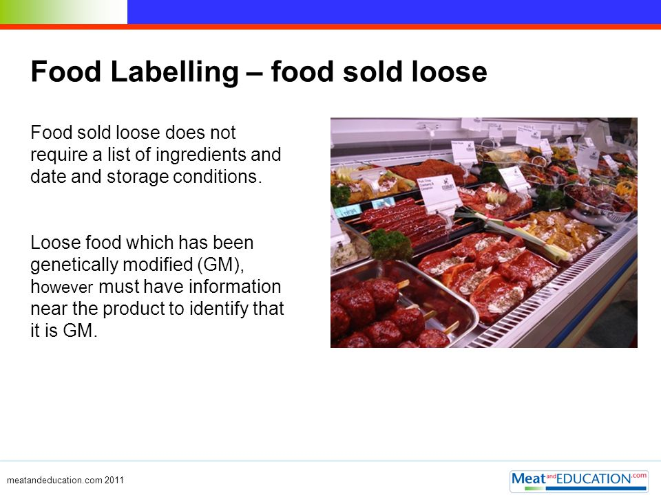 Food Labelling – food sold loose