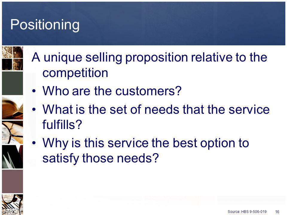 Positioning A unique selling proposition relative to the competition